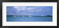 Framed Boats in the sea with a lighthouse in the background, Nassau Harbour Lighthouse, Nassau, Bahamas