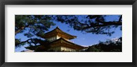 Framed Low angle view of trees in front of a temple, Kinkaku-ji Temple, Kyoto City, Kyoto Prefecture, Kinki Region, Honshu, Japan