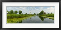 Framed Traditional windmill along with a canal, Damme, Belgium