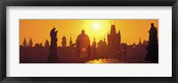 Framed Sunset over Charles Bridge, Prague, Czech Republic