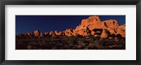 Framed Rock formations on an arid landscape, Arches National Park, Moab, Grand County, Utah, USA