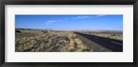 Framed Desert road passing through the grasslands, Namibia
