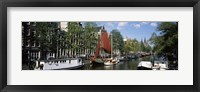 Framed Boats in a channel, Amsterdam, Netherlands