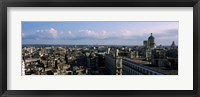Framed High angle view of a city, Old Havana, Havana, Cuba (Blue Sky with Clouds)