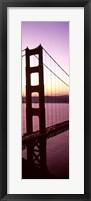 Framed Suspension bridge at sunrise, Golden Gate Bridge, San Francisco Bay, San Francisco, California (vertical)