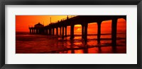 Framed Silhouette of a pier at sunset, Manhattan Beach Pier, Manhattan Beach, Los Angeles County, California, USA