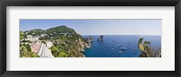 Framed Boats in the sea, Faraglioni, Capri, Naples, Campania, Italy