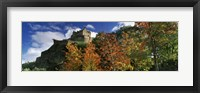Framed Castle viewed through a garden, Edinburgh Castle, Edinburgh, Scotland