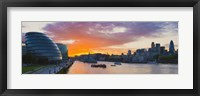 Framed City hall with office buildings at sunset, Thames River, London, England 2010