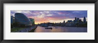 Framed City hall with office buildings at sunset, Thames River, London, England
