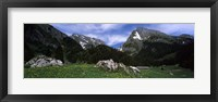 Framed Mountains in a forest, Mt Santis, Mt Altmann, Appenzell Alps, St Gallen Canton, Switzerland