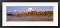 Framed Reflection of trees in a river, Oxbow Bend, Snake River, Grand Teton National Park, Teton County, Wyoming, USA