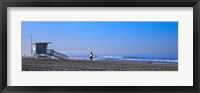 Framed Rear view of a surfer on the beach, Santa Monica, Los Angeles County, California, USA