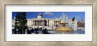 Framed Fountain with a museum on a town square, National Gallery, Trafalgar Square, City Of Westminster, London, England