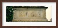 Framed SPQR Text carved on the stone, Piazza Del Campidoglio, Palazzo Senatorio, Rome, Italy