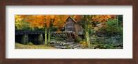 Framed Glade Creek Grist Mill, Babcock State Park, West Virginia (bright leaves)