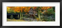 Framed Glade Creek Grist Mill, Babcock State Park, West Virginia (bright leaves)