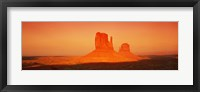 Framed Buttes at sunrise, The Mittens, Monument Valley Tribal Park, Monument Valley, Utah, USA