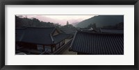 Framed Buddhist temple with mountain range in the background, Kayasan Mountains, Haeinsa Temple, Gyeongsang Province, South Korea