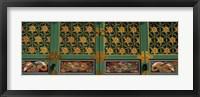 Framed Paintings on the door of a Buddhist temple, Kayasan Mountains, Haeinsa Temple, Gyeongsang Province, South Korea