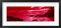 Framed Red Sunset over the coast, Makena Beach, Maui, Hawaii