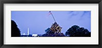 Framed Iwo Jima Memorial at dusk with Washington Monument in the background, Arlington National Cemetery, Arlington, Virginia, USA