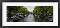 Framed Boats in a canal, Amsterdam, Netherlands