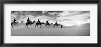 Framed Tourists riding camels through the Sahara Desert landscape led by a Berber man, Morocco (black and white)