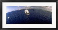 Framed Bird's Eye View of Tall ship in the sea, Puerto Rico