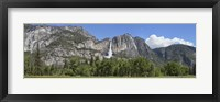 Framed Panoramic view of Yosemite Falls and the Yosemite meadow in late spring, Yosemite National Park, California, USA