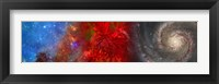 Framed Hubble galaxy with red maple foliage