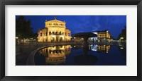 Framed Alte Oper reflecting in Lucae Fountain, Frankfurt, Hesse, Germany