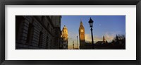 Framed Government building with a clock tower, Big Ben, Houses Of Parliament, City Of Westminster, London, England