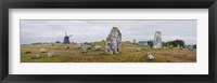 Framed Viking burial site and wooden windmill, Gettlinge, Oland, Sweden