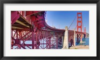 Framed High dynamic range panorama showing structural supports for the bridge, Golden Gate Bridge, San Francisco, California, USA