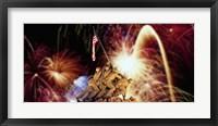Framed Digital Composite, Fireworks Highlight the Marine Corps War Memorial, Arlington, Virginia, USA