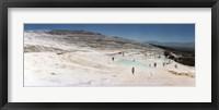 Framed Tourists enjoying the hot springs and travertine pool, Pamukkale, Denizli Province, Turkey