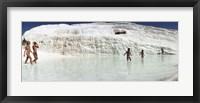 Framed Children enjoying in the hot springs and travertine pool, Pamukkale, Denizli Province, Turkey