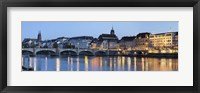 Framed Bridge across a river with a cathedral, Mittlere Rheinbrucke, St. Martin's Church, River Rhine, Basel, Switzerland