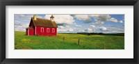 Framed Small Red Schoolhouse, Battle Lake, Minnesota, USA
