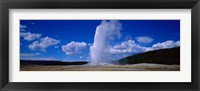 Framed Old Faithful, Yellowstone National Park, Wyoming, USA