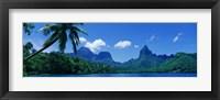 Framed Lush Foliage And Rock Formations, Moorea Island, Tahiti