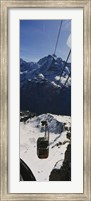 Framed High angle view of an overhead cable car, Jungfrau, Bernese Oberland, Swiss Alps, Switzerland