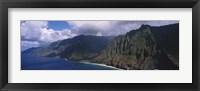 Framed Aerial view of the coast, Na Pali Coast, Kauai, Hawaii, USA