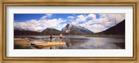 Framed Mountain Bikers Vermilion Lakes Alberta Canada