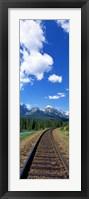 Framed Rail Road Tracks Banff National Park Alberta Canada