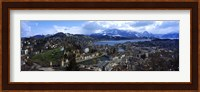 Framed High angle view of a city, Chateau Gutsch, Lucerne, Switzerland