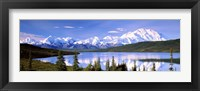 Framed Snow Covered Mountains, Wonder Lake, Denali National Park, Alaska