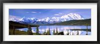 Framed Snow Covered Mountains, Mountain Range, Wonder Lake, Denali National Park, Alaska, USA