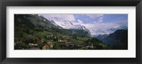 Framed High angle view of a village on a hillside, Wengen, Switzerland